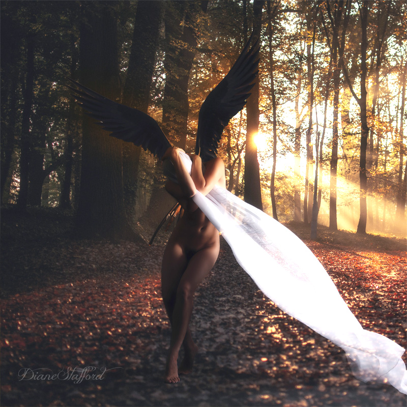 Winged woman veiled in autumn landscape